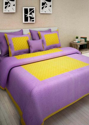 Sanganeri print cotton double bedsheet with 2 pillow covers