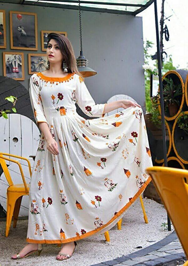 Rayon fabric white kurti