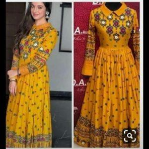 Rayon fabric yellow kurti   Collar kurti
