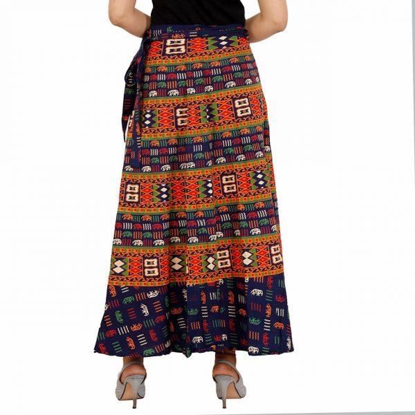 Cotton fabric wrap around Blue skirt