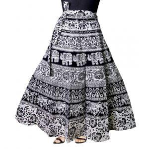Cotton fabric black wrap around skirt