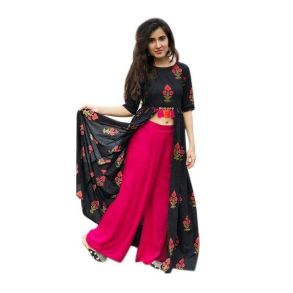 Rayon fabric black kurti with palazo