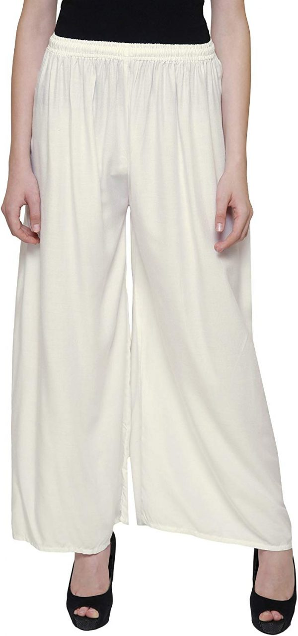 Rayon offwhite Palazzo Pant for women