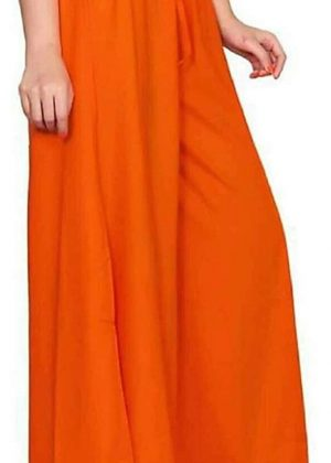 Rayon Orange Palazzo Pant for women