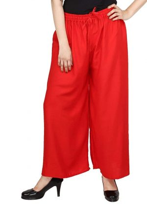 Rayon Red Palazzo Pant for women