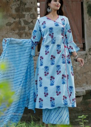 Cotton fabric kurti with palazo & dupatta sky blue