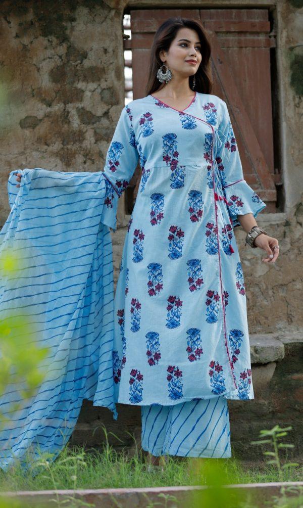 Cotton fabric kurti with palazo & dupatta sky blue