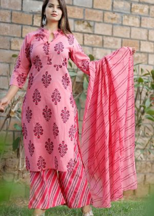 Cotton fabric kurti with palazo & dupatta pink