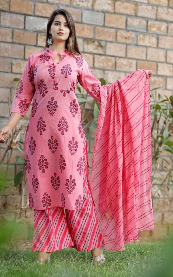 Cotton fabric kurti with palazo & dupatta pink